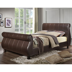 Birlea Marseille 6FT Superking Faux Leather Bed - Brown