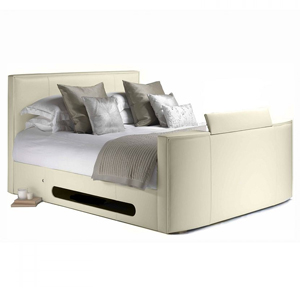 TV Beds Co New York 4FT 6 Double Leather TV Bed - Ivory