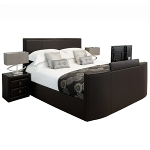 TV Beds Co New York 6FT Superking Leather TV Bed - Black
