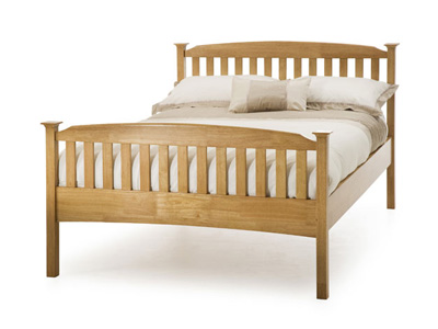 Serene Eleanor 4FT 6 Double Wooden Bedstead - Oak - High Footend