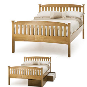 Serene Eleanor 6FT Superking Wooden Bedstead - Oak - High Footend