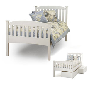 Serene Eleanor 4FT Small Double Wooden Bedstead - White - High Footend