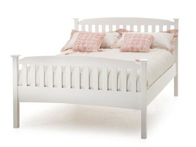 Serene Eleanor 4FT 6 Double Wooden Bedstead - White - High Footend