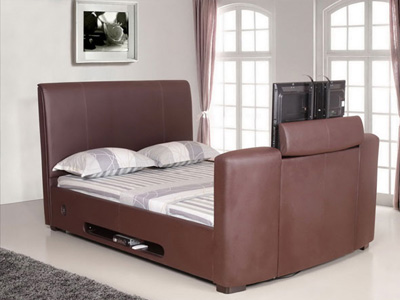 Artisan 5FT Kingsize Leather TV Bed - Brown