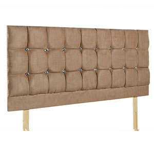Giltedge Beds Cube Diamond Tan 5FT Kingsize Fabric Headboard