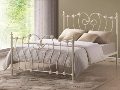 Time Living Inova  Metal Bed  - Ivory