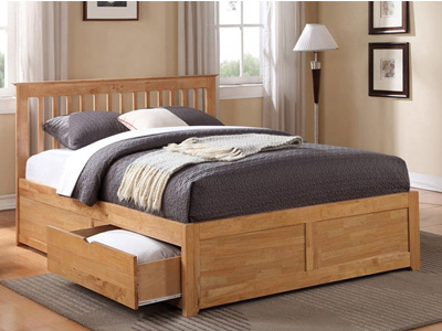 Flintshire Pentre Fixed Drawer 4FT 6 Double Wooden Bedstead - Oak