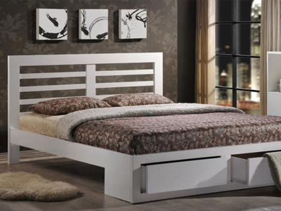 Flintshire Bretton 4FT 6 Double Wooden Bedstead - White