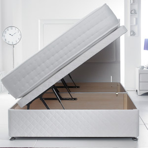 Giltedge Beds Side Opening 6FT Superking Ottoman Base - White Quilted