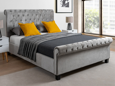 Limelight Beds Orbit  Fabric Bed  - Silver Velvet