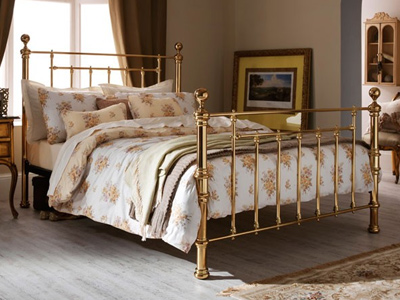 Serene Benjamin 4FT Small Double Metal Bedstead - Brass