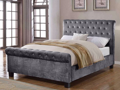 Flair Lola 4FT 6 Double Fabric Bedframe - Silver
