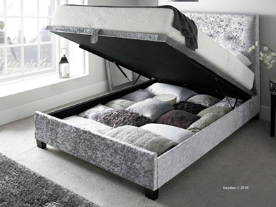 Kaydian Design Walkworth  Fabric Ottoman Bed - Silver Velvet