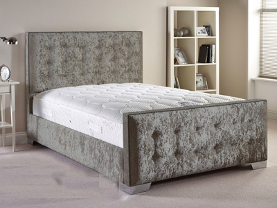 Aspire Furniture Delaware 5FT Kingsize Fabric Bedframe - Velvet Fabric