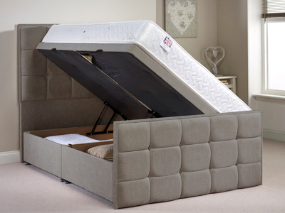 Aspire Furniture Pembroke 4FT 6 Double Fabric Ottoman Bed