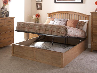 Milan Bed Company Madrid 4FT 6 Double Wooden Ottoman Bed - Natural