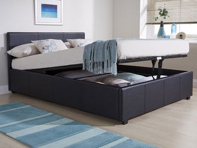 Milan Bed Company End Lift  Leather Ottoman Bed  - Black