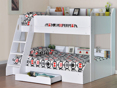 Flair Flick Triple Sleeper Bunk Bed - White