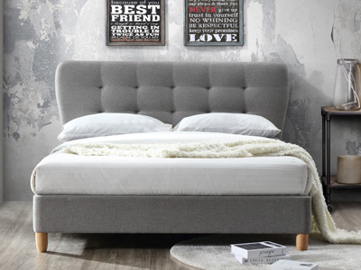 Birlea Stockholm 4FT Small Double Fabric Bedframe - Grey