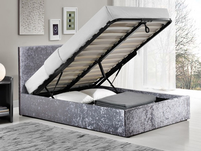 Birlea Berlin 5FT Kingsize Fabric Ottoman Bed - Crushed Velvet Steel