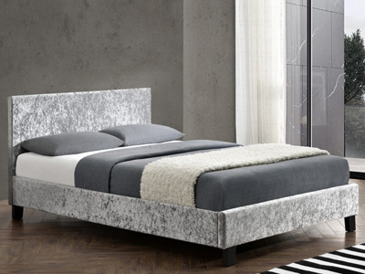Birlea Berlin 4FT 6 Double Fabric Bedframe - Crushed Velvet Steel