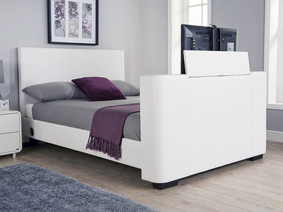 Milan Bed Company Newark 5FT Kingsize TV Bed - White