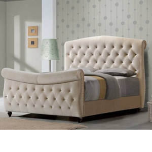 Sar Beds Baroque 4FT 6 Double Fabric Bedframe - Beige