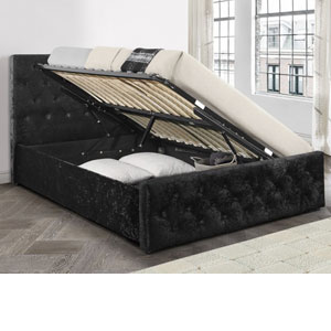 Birlea Finsbury 4FT 6 Double Ottoman Bed - Crushed Black