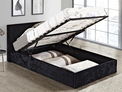 Birlea Berlin 4FT Small Double Ottoman Bed - Crushed Velvet Black