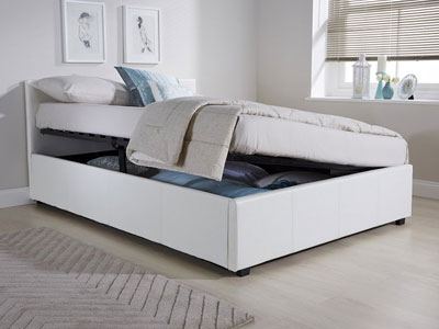 Milan Bed Company Side Lift 4FT Small Double Leather Ottoman Bed