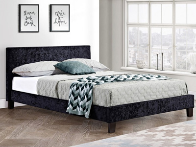 Birlea Berlin 3FT Single Fabric Bedframe - Crushed Black Velvet