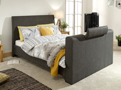 Milan Bed Company Brooklyn 5FT Kingsize TV Bed - Charcoal