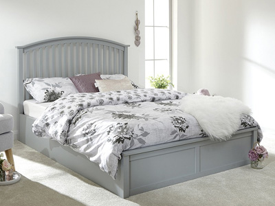 Milan Bed Company Madrid 4FT 6 Double Ottoman Bed - Grey