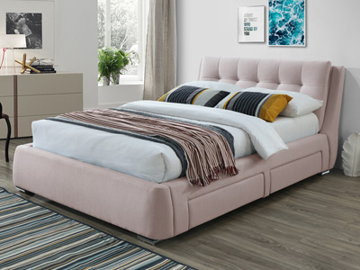 The Naples Bed Company 3090 4 Drawer  Fabric Bed  - Pink