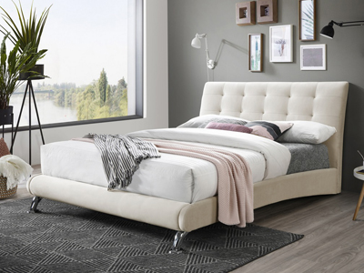 Birlea Hemlock  Fabric Bed  - Stone
