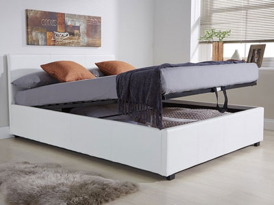 Milan Bed Company End Lift  Leather Ottoman Bed  - White