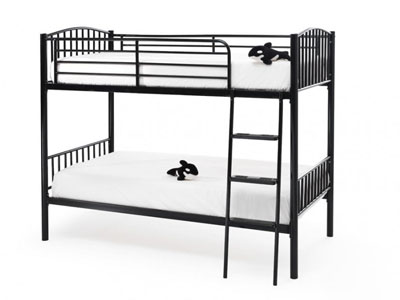 Serene Oslo  Metal Bunk Bed - Black