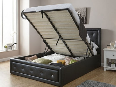 Milan Bed Company Hollywood  Leather Bed  - Black