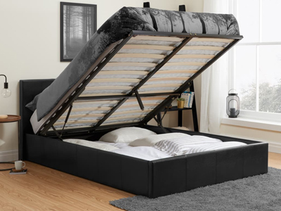 Birlea Berlin  Leather Ottoman Bed - Black