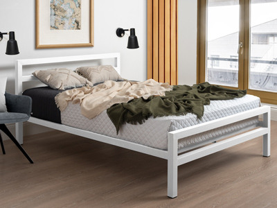 Time Living City Block  Metal Bed  - White