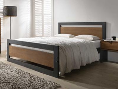 Olivia   Wooden Bed Frame - Charcoal